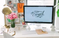 @Danielle Moss Chicago Home Tour // office space // office styling // desk styling // @west elm Parsons desk // @Ballard Designs lamp // @Anthropologie mug // @Jonathan Adler phone dock // Imm-Living chihuahua stamp // @west elm lacquered tray // Russel and Hazel gold stapler & tape dispenser // pin board // inspiration board // photography by Stoffer Photography