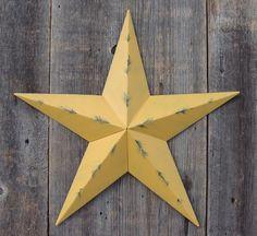 Painted Barn Star - Painted Rustic Mustard Galvanized Metal Barn Star