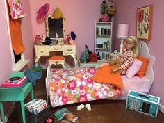 (assorted Mattel and non-Mattel items) Barbie Doll House, Barbie Dream House, Barbie Sisters, Barbie Family, Barbie Bedroom, White Bookshelves, Barbie Diorama, Bedtime Routine, Barbie Clothes