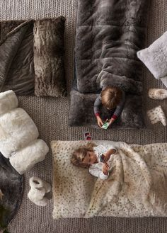 keep floor-crashers warm and cozy with snuggly faux fur sleeping bags…