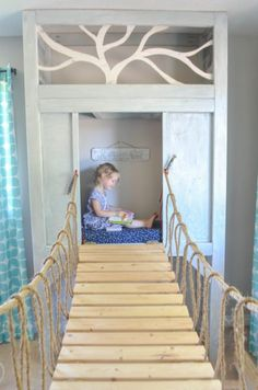 playroom reading nook and rope bridge