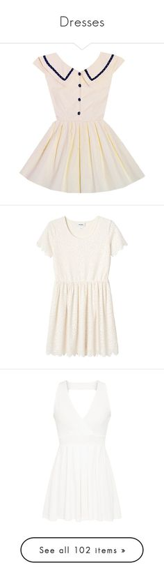 """""""Dresses"""" by fiakida ❤ liked on Polyvore featuring dresses, white, sailor dresses, white day dress, white colour dress, white color dress, white sailor dress, vestidos, tops and chantilly white"""