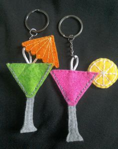 cocktail keyring, cocktail keychain, gift for her, hen party favour, gift for girlfriend, felt keychain, fun keychain, cocktail accessory by TheCraftingGardener on Etsy