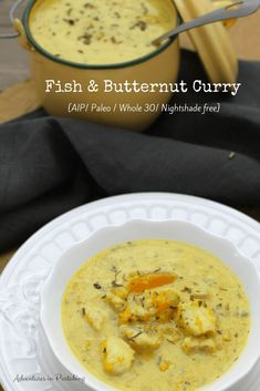 This aip fish curry takes a simple fillet of fish and a humble butternut squash and combines them to make a rich and flavorful dinner that your whole family will enjoy that's totally aip paleo and nightshade free. With it's mild curry flavor it's a great Curry Recipes, Fish Recipes, Seafood Recipes, Indian Food Recipes, Paleo Recipes, Nightshade Free Recipes, Fish Curry, Chicken Soup Recipes, Fish Dishes