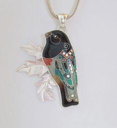Rose-breasted Grosbeak Pendant - Bird Pendant - Grosbeak - Nature-inspired - Colorful bird - Bird jewelry - handmade - Michael Romanik