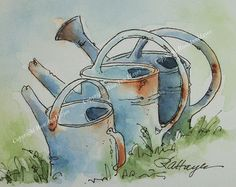 This is an original watercolor painting of three old garden watering cans. The size is 2 ½ x 3 ½ inches, which is called ACEO size. What is an ACEO? ACEO stands for Art Cards, Editions and Originals, and it represents a category of small collectible art. ACEOs measure 2.5 x 3.5 inches, the same size as baseball cards. They are a special category of art that has been collected for years. The hobby started as a way for artists to collect small samples of other artists' work. The practice…
