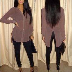 USD7.49Simple Fashion Turndown Collar Long Sleeves Back Split Brown Blending Shirt
