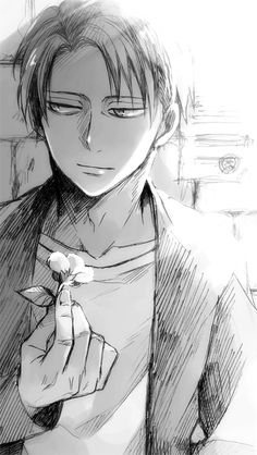 Levi with a flower and a slight smile...I like   SNK   Source:日蚊Please do not remove source.