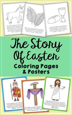 """The Easter Story Posters and Coloring Pages. These 12 posters and 12 coloring pages gently teach the Easter story using Bible verses and simple pictures. They make a great introductory guide to teaching your students the real reason for the season. Each has been created to be printed from your desktop printer on 8.5"""" x 11"""" paper."""