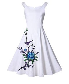 White 50s Square Neck Embroidery Vintage Style Dress 50s Dresses 16253bea748d