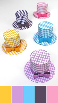 Five DIY hats to make in fun, fresh pastel colors. Super cute fascinator or party favors – perfect pattern for party hat - no sew easy DIY party hats! https://happythought.co.uk/product/diamond-mini-top-hats