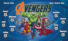 Avengers-44880  digitally printed vinyl soccer sports team banner. Made in the USA and shipped fast by BannersUSA. www.bannersusa.com
