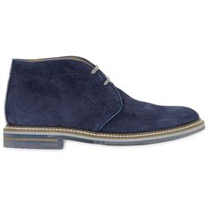 Brimarts Men Suede Chukka Boots ($210) ❤ liked on Polyvore featuring men's fashion, men's shoes, men's boots, men, shoes, menswear, mens shoes, blue, mens blue shoes and mens blue boots