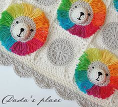 PATRÓN de CROCHET: Manta del bebé arco iris León & por DadasPlace