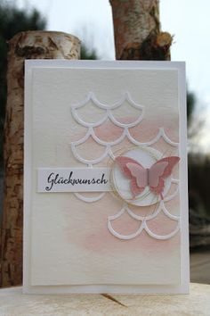 handmade card from Daniela stamp world ... pink and white ... watercolor wash background ... punched butterflies ... Stampin' Up!