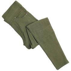 Olive Denim Jeggings (€20) ❤ liked on Polyvore featuring pants, leggings, olive leggings, denim jeggings, denim leggings, army green leggings and denim pants
