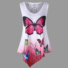 New Summer Women Tunic Tops Casual Sleeveless Blouses Irregular Butterfly Printed Lace Shirt Loose Plus Size Camisa Feminina Bikini, Look Fashion, Fashion Outfits, Fashion Women, Fashion Site, Fashion Clothes, Camisa Floral, Ombre Color, Gradient Color