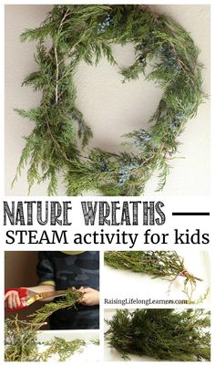 Explore nature, botany, and art all at the same time in this nature wreaths STEAM activity for kids! Explore winter and learn! Explore nature, botany, and art all at the same time in this nature wreaths STEAM activity for kids! Explore winter and learn! Nature Activities, Outdoor Activities For Kids, Steam Activities, Christmas Activities, Learning Activities, Christmas Crafts, Crafts For Kids, Preschool Christmas, Stem Science