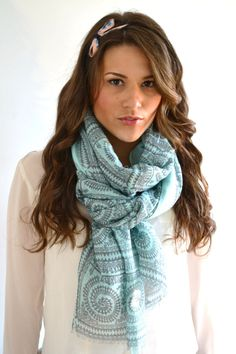 MINT Green Pyramid Egyptian Symbols Print Tribal by AnytimeScarf, $27.00