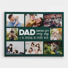 This Father's Day, Christmas, his birthday or any other special occasion, show your dad just how much he means to you with the 'Dad Brings Joy Every Day' canvas. After all, your dad showers you with love, affection, and care every day, which sparks joy in your life like nothing else.   You can customize the 'Dad Brings Joy Every Day' Canvas by uploading your favorite memories caught on camera, and you will be set!  #dad #family #fathersday #joy #gifts #giftideas #365canvas Personalized Gifts For Dad, Custom Canvas Prints, Sparks Joy, Dad Quotes, Dad Birthday, Custom Posters, Custom Photo, Showers, Special Occasion
