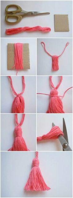 how-to-make-tassels-diy-diyearte-handmade-como-hacer-borlas - Örgü Modelleri Yarn Crafts, Diy And Crafts, Arts And Crafts, Decor Crafts, Sewing Projects, Craft Projects, Projects To Try, Crochet Projects, Crochet Ideas
