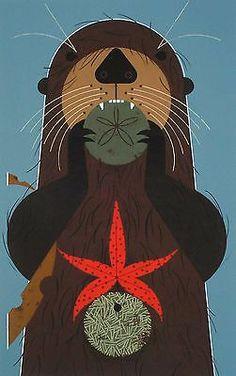 Charles/Charley Harper - OTTERLY DELICIOUS - Cert of Auth - Ltd Ed #7 -otter art