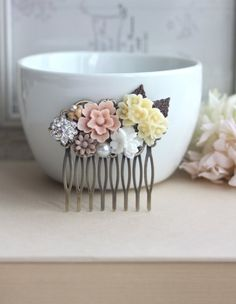 Vintage Inspired Flower Collage Hair Comb. Blush Pink by Marolsha, $28.00