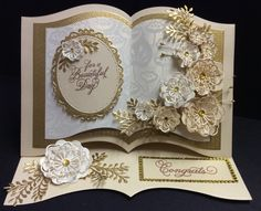 Sue Wilson Dies. wedding or golden anniversary book style card. Made by Sue @ crafty urchins.
