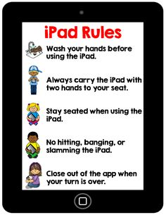 FREE iPad classroom rules, several poster options to choose from.