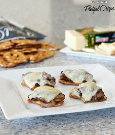 Caramelized onion melts with Alpine Cheddar @cabotcheese and Sea Salt & Cracked Pepper Pretzel Crisps