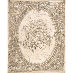 Design for a ceiling with an oval compartment containing an Allegory of Dawn. The scene is surrounded by an elaborately decorated frame with a variant for the right side. Vintage Wall Art, Vintage Walls, Art Nouveau Illustration, Italian Interior Design, Stuck, Poster Prints, Art Prints, 17th Century, Textured Background