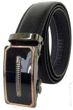 Men Automatic Ratchet Click Lock Black Belt G Buckle Genuine Leather Style A60