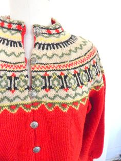 Hand Knit Vintage Norwegian Cardigan Sweater by VintageZipper