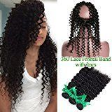 Missivy 360 Lace Band Frontal Closure With Bundles 8A Brazilian Deep Curly Wave With Full Frontals 360 Circular Lace Frontal With Virgin Human Hair 4pcs/lots(22 24 26+18 inch)