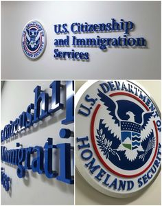 Here is a lobby sign we made for USCIS.  The letters were installed with spacers to create a great drop shadow effect and we used a combination of acrylic, aluminum, and digital printing to bring out the different elements of their logo.  #signage #signs #lobbysigns