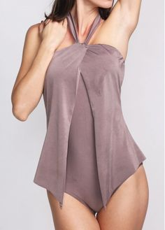 Taupe Draped Tummy Control One Piece Swimsuit Sale : liligal