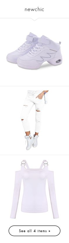 """""""newchic"""" by ilona-828 ❤ liked on Polyvore featuring shoes, tops, blouses, white, sexy tops, white long sleeve top, long sleeve blouse, white off shoulder top and white off the shoulder blouse"""