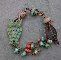 Lorelei Eurto ... Owl Bracelet ... Ceramic Cuff ... Beaded ... Lampwork