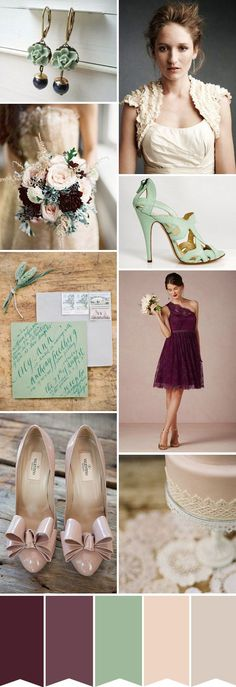 plum, sea-foam and nude wedding colour palette - quite liking the plum but the green needs to be grassier..