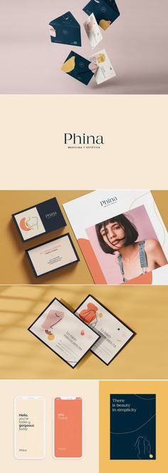 Phina aesthetic center brand identity design by Juliana Gutierrez Brand Identity Design, Corporate Design, Branding Design, Logo Inspiration, Aesthetic Center, Minimalist Graphic Design, Business Card Design, Stationery Business, Brand Style Guide