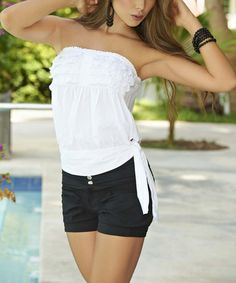 Another great find on #zulily! White Ruffle Side-Tie Strapless Top by AM PM #zulilyfinds