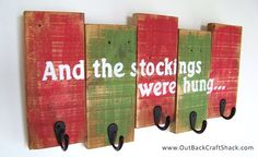 Christmas Stocking Holder with Distressed Finish; Reclaimed Wood Christmas Decoration; Stocking Hanger; Rustic Decor; Shabby Chic Decor by OutbackCraftShack on Etsy https://www.etsy.com/listing/214054554/christmas-stocking-holder-with