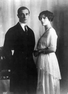 Prince Felix Yusupov and his wife Princess Irina Alexandrovna of Russia.  Prince Felix was the heir of one of the wealthiest families of Russia and of Europe. Princess Irina was a grandaughter of Tsar Alexander III and a niece of Tsar Nicolas II. After the February Revolution, the Yusupovs fled Russia and settled in Paris, leaving behind most of their wealth.