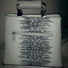 Handbag Black and white faux leather fashion handbag with gold handles Bags Totes