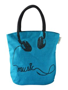 Plug in the headphones in your mobile, listen to your favorite music and life wouldn't have been more happier. The musically fresh Jute tote bag will bring in the freshness to your wardrobe that you very much need.   http://www.earthenme.com/New-Arrivals/Muscially-Fresh-Blue-Tote-Bag-id-2001025.html