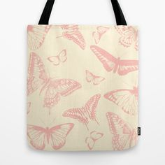 Vintage Butterfly Background Tote Bag by Karen Arnold - $22.00