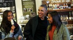 President Obama and his daughters Malia and Sasha Obama: Former President Barack Obama with his daughters Malia and Sasha in a Washington, D.C., ice cream shop in November 2015.