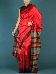 Red Tussar Dupion Silk saree