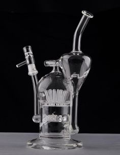 JM Flow Sci Glass Bong  Large Recycler with Sprinkler Perc 20 arm tree Recycler Glass Oil Rig