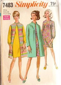 Vintage 60s Simplicity 7483 Misses Coat Sleeveless by scarlettess
